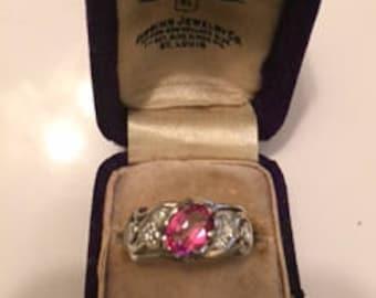 1930s 18k White Gold, Pink Topaz, Diamond Ring