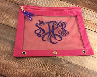 Back To School;Pencil Pouch;Personalized Supplies;Pencil Bag;Zipper Pouch;School Supplies;Monogram Decal;Vinyl Decal;Binder Bag;