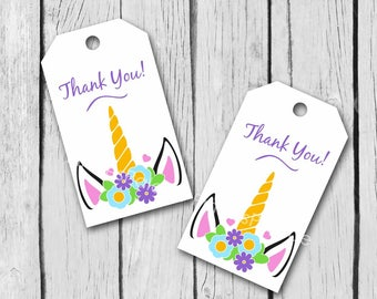 Unicorn Tags Birthday Favor Thank You Tags Gift Wrapping Package Labels T595