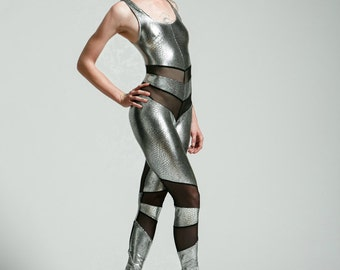 Snake Print Gunmetal Silver and Black Mesh Holographic Portal Suit for the Modern Superhero - Free Shipping