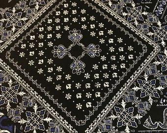 Kokka - Bandana Blue on Black - Cotton Woven