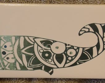 Decorative Tile  Sperm Whale metallic vinyl on ceramic 3x6