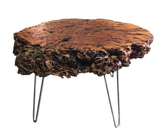 Live Edge table River Gum Burl coffee table Live edge with steel base, Live edge slab table, in stock ready to ship