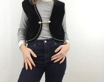 Vintage Hobby Horse Large Quilted Vest Velour Marching Band Women Gold Black