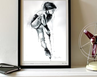 Watercolor Print. Ballet dancer. Ballerina art print in black and white for your home decor.