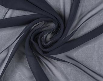Midnight Navy Silk Chiffon, Fabric By The Yard
