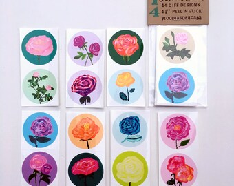 Rose Stickers, Package of 14 Glossy Vinyl Art Stickers, Rose Painting Envelope Seals