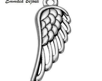 4 silver metal wing charms
