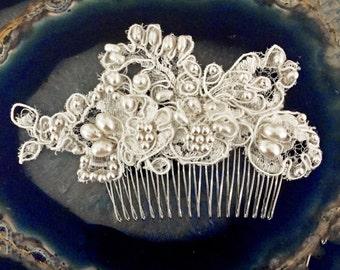 CUSTOM ORDER - MARTEAL beaded pearl lace comb, romantic bridal hair comb