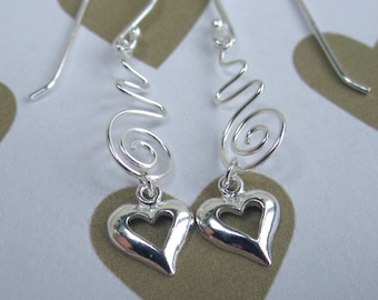 Beautiful Modern Spiral Heart Charm Earrings Sterling Silver