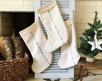 Faux grain sack stockings