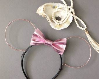 ROSE METALLIC (Faux) Leather Bow Wire Ears