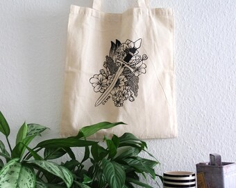 Tote Bag dagger on flower inspiration Tattoo, screen printed handmade, ideal for gifts