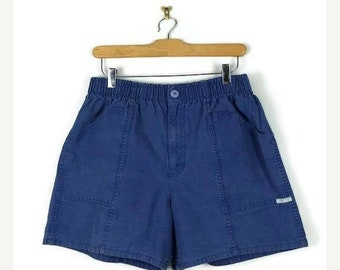ON SALE Vintage Blue High Waist Cotton Flare Shorts from 80's/W25-36
