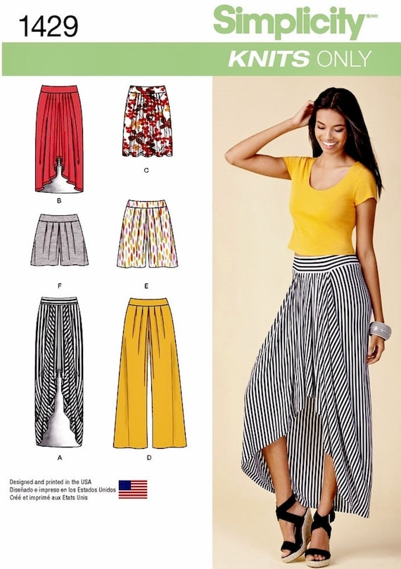 Pull on High Low Skirt Pattern, Wide Leg Pants Pattern, Stretch ...