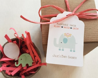 50 Baby shower favors -  Elephant Plantable seed paper favors - Boxed personalized favors - assembly required -