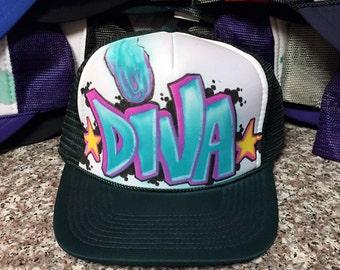 "Custom ""Diva"" Graffiti mesh trucker hat"