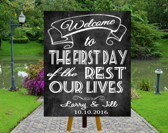 PRINTABLE Welcome Wedding Signs, Chalkboard Wedding Sign, Vintage Wedding, Welcome to the first day of the rest of our lives,
