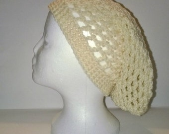 Crochet Mesh Slouchy Hat