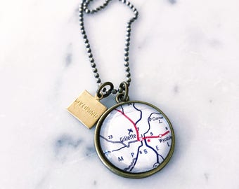 Gillette Map Necklace - Gillette Necklace - Gillette Jewelry - Wyoming Map Necklace - Wyoming Jewelry - Gillette Charm Necklace