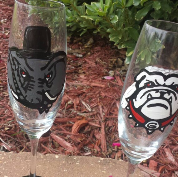 House Divided College Wedding Glasses
