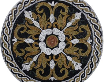 "30"" Rich Floral Renaissance Motif Round Medallion Marble Mosaic MD1839"