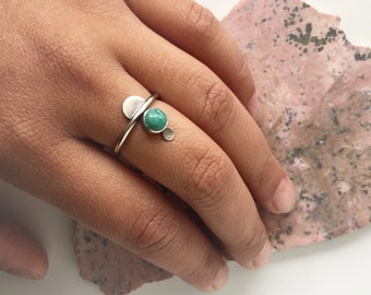 Triplet Ring // Sterling Silver with Turquoise, Moonstone, or Garnet // K2076