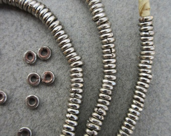 African Silver Heishi Beads