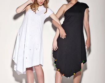 Black dress,White dress,Ripped cotton,Summer dress,Gift for mom,Gift for friend,Women gift,Egst,Xmas gift,Island dress,Off shoulder dress