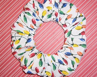 String of Christmas Lights Hair Scrunchie, Holiday Ponytail Holder, Fabric Hair Tie
