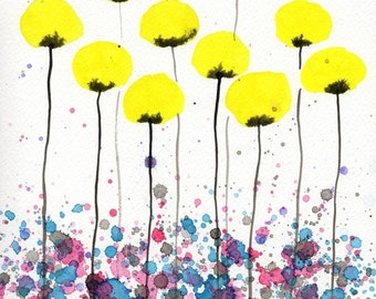 Watercolor Painting: Watercolor Flower Painting -- Art Print  8x10 -- Warm Breeze -- Yellow Flowers --
