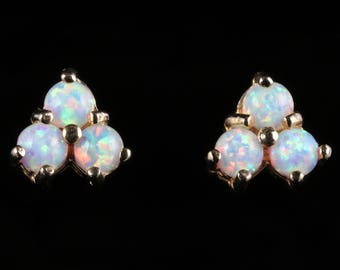 Opal Gold Stud Earrings Trilogy of Opals