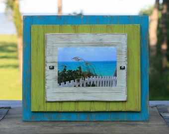 5 x 7 Distressed Handmade Picture Frame - Turquoise, Lime Green & Ivory