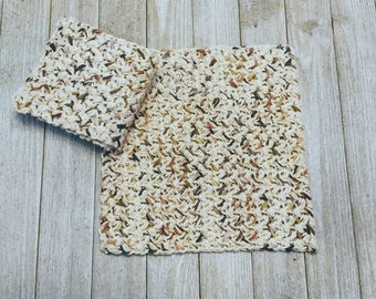 Brown Speckled Dishcloths, Crochet Cleaning Cloths, Set of 2, Large Textured Washcloths, Rustic Dishcloth Set, Housewarming Gift