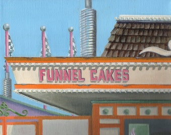 Original Acrylic Painting Retro Carnival Building Landscape, 8x10 Canvas Painting for Home Decor
