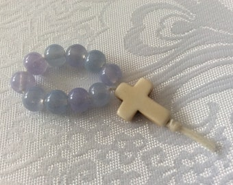 Blue Purple and White Christian Baptismal Keepsake Remembrance beads with Magnesite cross