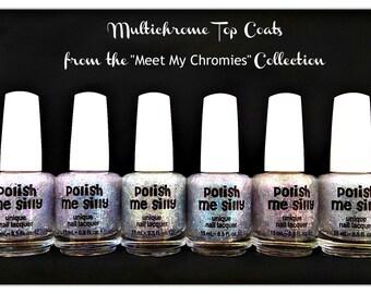 6 FULL Size - MULTI-CHROME Topper Set - Multi-Color Changing Polish- Custom-Blended Glitter Nail Polish / Indie Lacquer /PolishMeSilly
