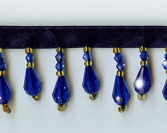 50% Off!  Royal Blue Beaded Fringe Trim.   Now Only 3.35 a Yard.  Over 50 colors available.