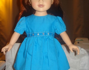 18 inch Doll full skirt dress in bright teal blue - ag41