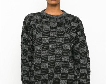Vintage 90's Grey Black Abstract knitted Jumper
