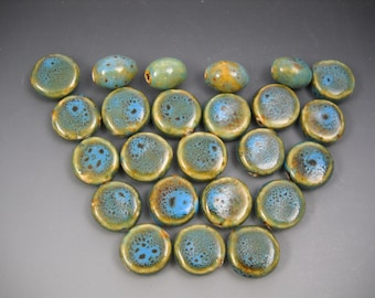 Mixed Lot Ceramic Beads Blues and Greens Coin Shaped and some Oval Rounds 24 Beads