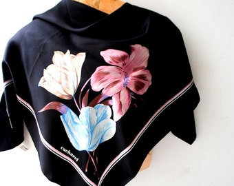 Classy vintage 80s, black, all silk, square scaef with a multicolor , three tulips print. Made by Cacharel.Mint condition.