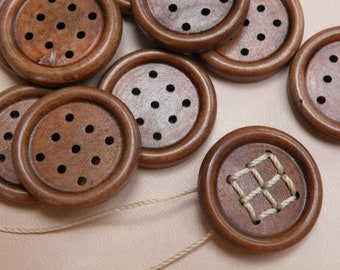 wood buttons with unusual hole forming