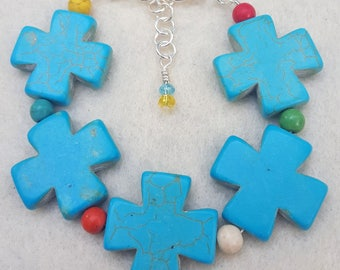 Howlite Cross Bracelet