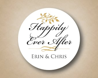 Happily Ever After Wedding Stickers Wedding Favor Tags Custom Wedding Favor  Labels Personalized Favors Gold wedding