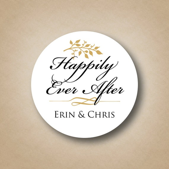 Happily ever after wedding stickers wedding favor tags custom wedding favor labels personalized favors gold wedding favor ideas fall wedding from