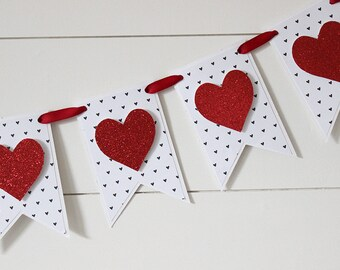 Valentine's Day Banner, Heart Banner, Valentine's Banner, Valentine's Decor, Glitter Banner - WHITE with BLACK HEARTS