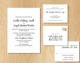 DIY Elegant Wedding Invitation SET, wedding invitation download, printable