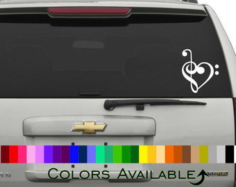 Treble and Bass Clef Heart Car Decal