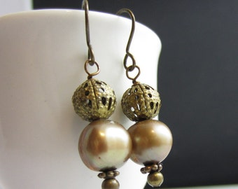 Bronze Drop Earrings - Antiqued Brass and Freshwater Pearls